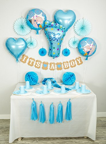 Baby Shower Decorations for Boy: It's a Boy Banner, FREE Mom to be Sash, FREE Foil Balloons, Tissue Paper Fans, Tassels, Blue, Honeycomb Balls, 20 pcs., Party Supplies, Indoor/Outdoor, Set (Decoration Baby Shower Boy)