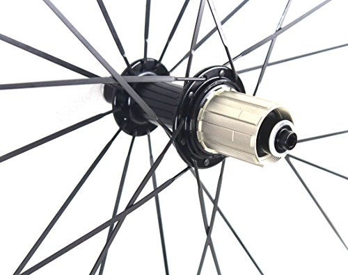 Road Bike Wheel set 50mm Clincher Carbon Fiber Matte 25mm Width For Shimano or Sram 10/11 Speed 700C Wheels by WOKECYC (Image #7)