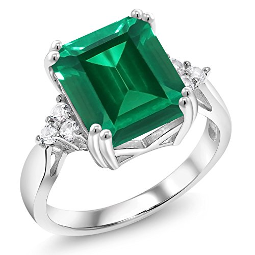 Gem Stone King 5.66 Ct Emerald Cut Green Simulated Emerald 925 Sterling Silver Ring