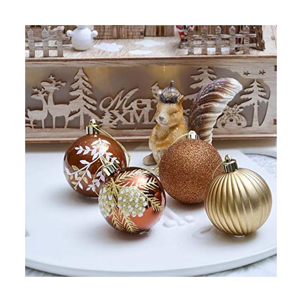 Valery Madelyn Palle di Natale 9 Pezzi 6cm Palline di Natale, Rame da Bosco e Oro Infrangibile Palla di Natale Ornamenti Decorazione per la Decorazione Dell'Albero di Natale 6 spesavip