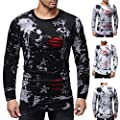 POHOK Clearance Deals ! Mens Long Sleeve Scratches Splicing Casual Suits Shirts Blouse Top