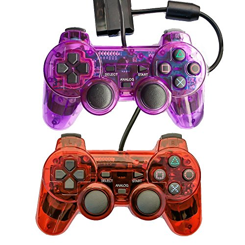Saloke Wired Gaming Controller for Ps2 Double Shock (Clear Purple and Clear Red) (Game Ps2 Video Red)