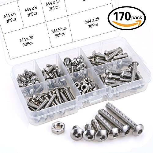 Glarks 170Pcs M4 Stainless Steel Allen Hex Drive Button Head Socket Cap Bolts Screws Nuts Assortment Kit (M4) (M4 Set Screw)