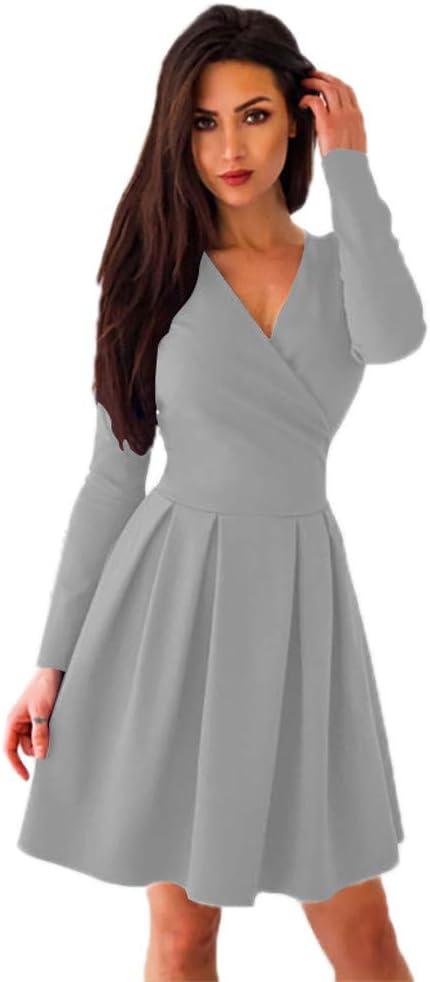 Hffan damska elegancka długie rękawy modna sukienka linia A wysoka talia sukienka na imprezę sukienka koktajlowa dekolt sukienka ciasna sukienka zimowa sukienka jesienna sukienka na imprezę sukienka: Odzie