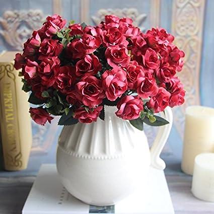 Rosepoem 15 artificiale della testa Austin Rosa fiori falso matrimonio fiori Mazzi Decorazione per la Casa della decorazione del giardino Kicode