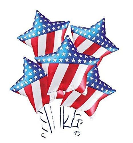 Patriotic Star Shaped Flag Balloon (18 Inch Mylar) Pkg/5