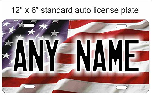 American Flag Novelty License Plate Mini License Plate For Bicycles, Bikes, Wheelchairs, Golf Carts personalized with your design custom vanity Decorative plate Can Also Be Used As a Door Sign -  ATD Design LLC, LPAmrcnflag