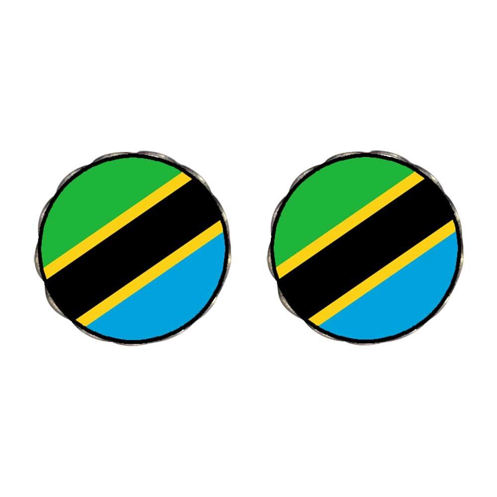 GiftJewelryShop Bronze Retro Style The United Republic of Tanzania flag Photo Flower Stud Earrings #14