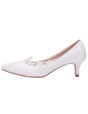 Jane Hochzeit Heel Brautschuhe Abendgesellschaft Mary Weiße Damen Bequeme Pumpe Spitze High Spdycess Schuhe Prom Brautjungfern Sandalen FlKT1Jc