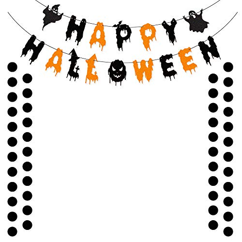 TMYSP Happy Halloween Glittery Banner Bunting Sign with Black Dots Garlands Party Decorations Supplies Home Decor Hanging Photo Props]()
