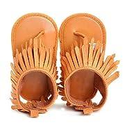 Voberry Summer Baby Boy Girls bling bling Moccasins Tassel Soft Soled Anti-slip Sneakers (0~6 Month, Brown)
