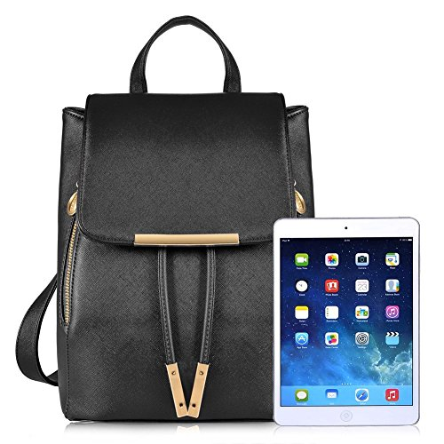 Backpacks,Sunroyal Women Girls Leather Schoolbags Travel Casual Shoulder Bag Mochila-Black by Sunroyal (Image #3)