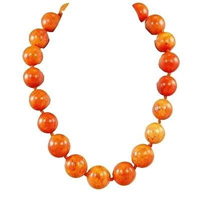 Amazon Com Orange Magnesite Turquoise Large Beads Knot Silver Clasp