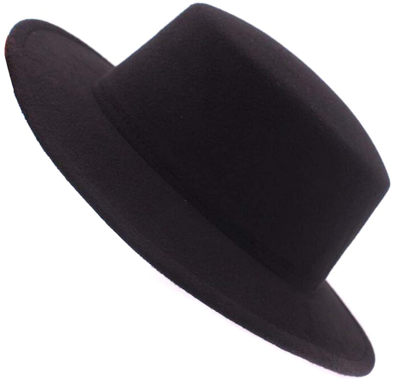 ASTRQLE Fashion Classic Black Wool Blend Fedora Hat Brim Flat Church Derby Cap