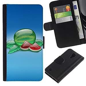 LASTONE PHONE CASE / Lujo Billetera de Cuero Caso del tirón Titular de la tarjeta Flip Carcasa Funda para Samsung Galaxy S4 IV I9500 / Fruit Macro Watermelon Slices