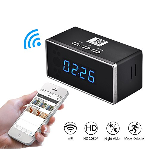 FULAO HD 1080P Wifi Alarm Clock Camera Night Vision/Motion Detection/Home spy (Alarm Clock Camera)