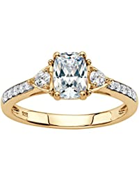 18K Yellow Gold over Sterling Silver Emerald Cut Created White Sapphire 3-Stone Promise Ring