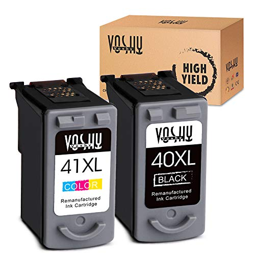 Voshy PG-40 CL-41 Remanufactured Ink Cartridges Replacement for Canon PG-40XL CL-41XL Compatible with Pixma MP160 MP470 MX310 IP2600 MP210 MP460 IP1600 IP1700 IP1800 MX300 MP450 Printer, 2-Pack