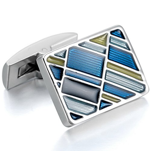 INBLUE Rhodium Cufflinks Rectangular Wedding