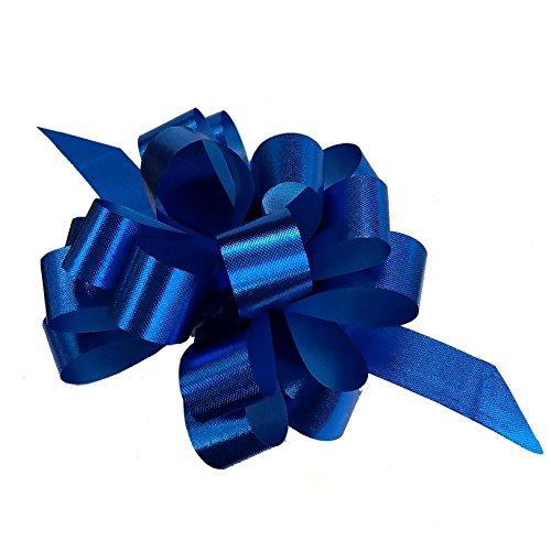 Blue Metallic Ribbon - Metallic Royal Blue Decorative Gift Pull Bows - 4
