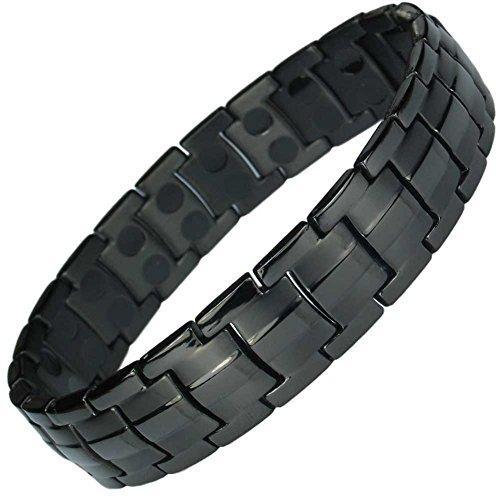 MPS EUROPE JET BLACK DOUBLE STRENGTH TITANIUM MAGNETIC BRACELET + Free...
