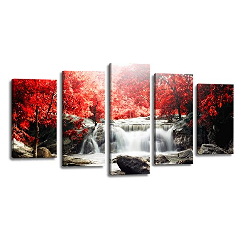 youkuart-kx9906-5-piece-red-woods-waterfall-canvas-print-paintings-for-wall-and-home-dcor