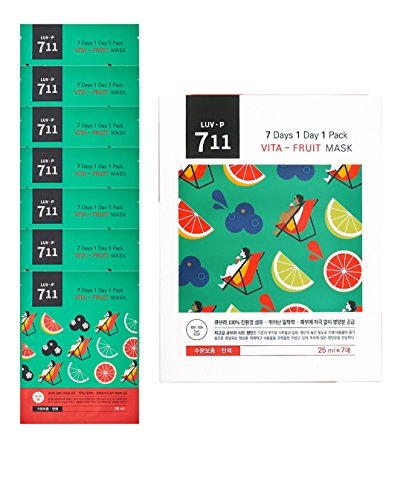 LUV-P-K-Beauty-Organic-Sheet-Mask-Sheet-7-Days-1-Day-1-Pack-Vita-Fruit-Vitamin-Korean-Natural-Skin-Care-Facial-Face-Mask-Package-Set-for-CleansingMoisturizingSoothing-7-of-Pack