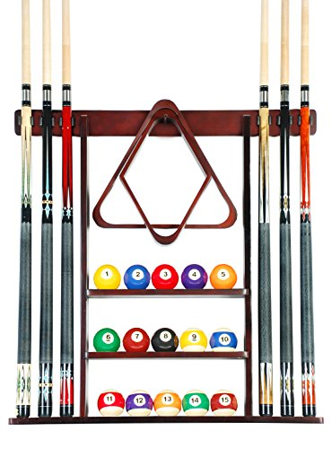 Cue Rack Only - 6 Pool Cue - Billiard Stick Wall Rack Made of Wood Choose Mahogany, Black or Oak Finish ()