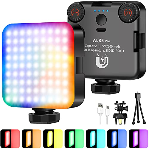 Vanpaga RGB LED Video Lights Atmosphere lamp, Magnetic LED Camera Lights 360° Full Color Portable Photography Light 3 Cold Shoe, Rechargeable 2500mAh 2500-9000K Dimmable Fill Light Panel Lamp CRI 95+
