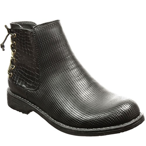 Laces Women's 3 Black Boots Chelsea Boots Angkorly Booty Ankle Shoes CM Snakeskin Fashion Block Perforated Heel HxqwqdvOT