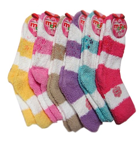 HS Winter Fuzzy Socks Solid Line Rubbery Flower Dots Bottom (size 9-11) 6 Colors