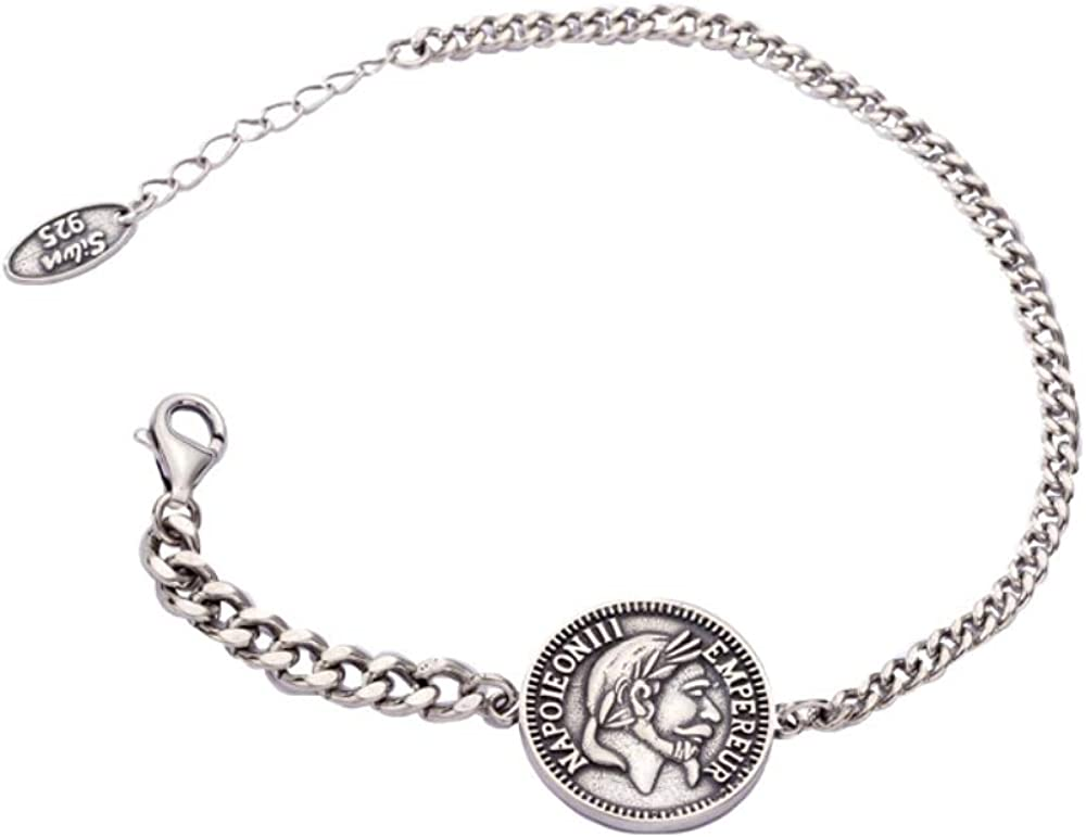 Haiyuan Bracelet S925 Sterling Silver Coin Portrait Bracelet Thai Silver Retro Old Craft Tank Chain Silver Jewelry High-End Gift
