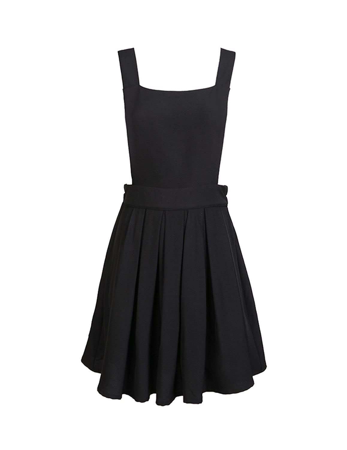 Hao Duo Yi Women's Classic Overall Suspender A Line Pleated Mini Dress by Hao Duo Yi