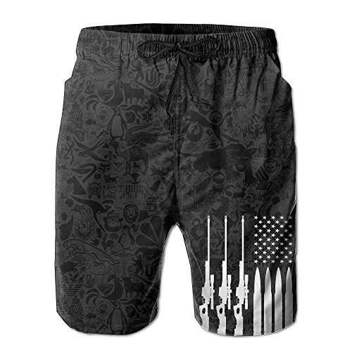American Guns Bullet Beach Boy's Quick-dry Breathable Boardshorts With - Mens Apparel Swim American