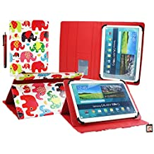 Emartbuy® Teclast X16 Plus 10.6 Inch Tablet Universal Range ( 10 - 11 Inch ) Multi Coloured Elephants Multi Angle Executive Folio Wallet Case Cover With Card Slots + Stylus