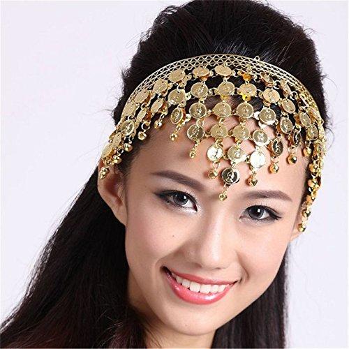 Danza del Vientre Tribal Headdress campanas monedas disfraz accesorios hembra Pinza para el pelo aro Dorado