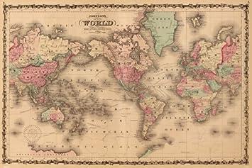 Worksheet. Amazoncom Map Of The World Mercators Projection A J Johnson 1860