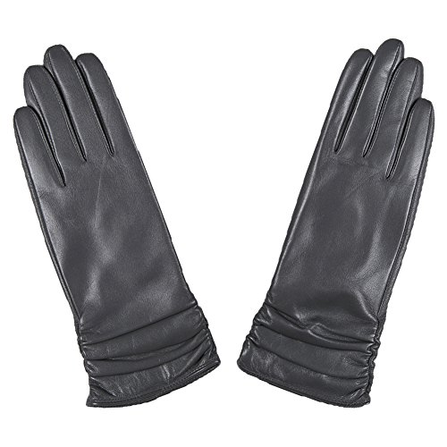 Magelier Women's Gray Winter Genuine Lambskin Nappa Leather Lined Driving Riding Hiking Gift Gloves