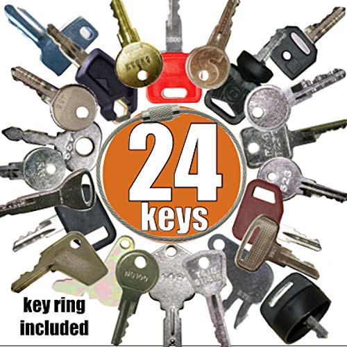 Heavy Equipment Key Set 24 Keys ON Ring FITS: Bobcat BOMAG CASE Caterpillar Clark Fiat GEHL Genie GRADALL Ingersoll JCB Deere MULTIQUIP SKYTRAK Toyota and More