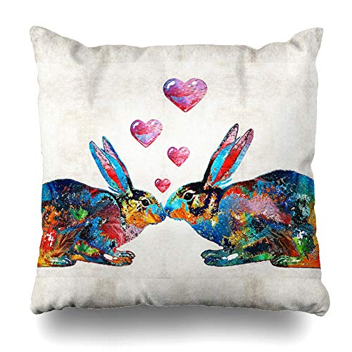 Ahawoso Throw Pillow Cover Square 20x20 Inches Bunny Rabbit Art Hopped Up On Love by Sharon Cummings Decorative Pillow Case Home Decor Pillowcase (Cumming On Pillow)