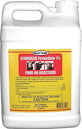 DURVET FLY 003-3705 698346 Synergized Permethrin 1% Pour-On Insecticide, 2.5 gallon Cattle Insecticides