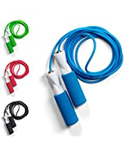 JUMP ROPE Fitness Springseil, in 4 Farben, mit Qualitäts Kugellagern, Profi Speed-Rope mit Tasche, Länge einstellbar für Erwachsene und Kinder