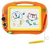 Magnetic Magna Doodle Drawing Board For Kids - Colorful Sketch Erasable Tablet Education Writing Pad With 2 Magnet Shapes - Gift for Little Girls Boys Kids Children Travel Size (Orange)