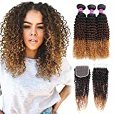 Best Hair Weave Blonde 3 Bundles - Mink Hair 3 Tone Ombre Kinky Curly Human Review
