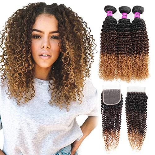 - Mink Hair 3 Tone Ombre Kinky Curly Human Hair Bundles with Closure 8A (14 16 18+12) Brazilian Virgin Curly Human Hair Weaves,Black/Dark Brown/Blonde 1b/4/27# 100g/pc