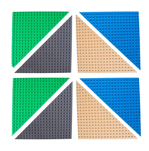 Strictly Briks Classic Stackable 6 Triangle Baseplates 100% Compatible with All Major Brands   Building Brick Set   8 Base Plates   Blue, Green, Gray & Sand