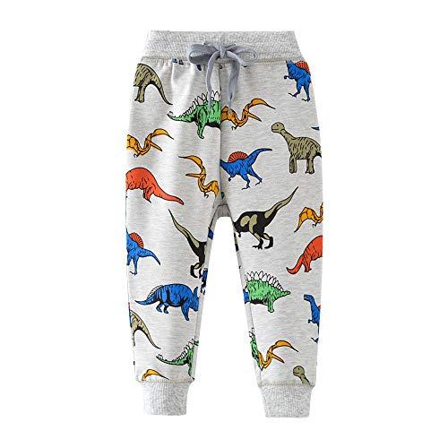 HUAER& Boys Cartoon Print Monkey Dinosaur Camouflage Pattern Cotton Pants Drawstring Elastic Sweatpants (5T(height100-110cm/38-42inch), Light Grey & Dinosaur)