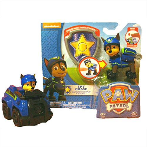 Nickelodeon Paw Patrol Super Spy Chase Bundle: 1 Spy Chase Action Pack Figure & Badge, 1 Spy Chase (Spy Badge)