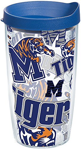 - Tervis 1252010 Memphis Tigers All Over Insulated Tumbler with Wrap and Blue Lid 16oz Clear