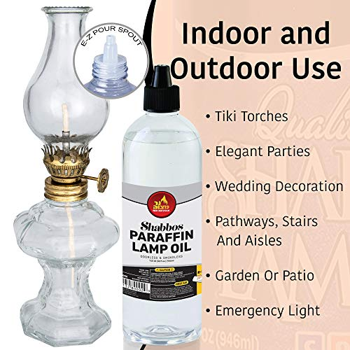 Paraffin Lamp Oil - Clear Smokeless, Odorless, Clean Burning Fuel for Indoor and Outdoor Use with E-Z Fill Cap and Pouring Spout - 32oz - by Ner Mitzvah by Ner Mitzvah (Image #4)